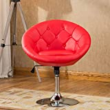 Roundhill Furniture Noas Contemporary Round Tufted Back Tilt Swiviel Accent Chair, Brown