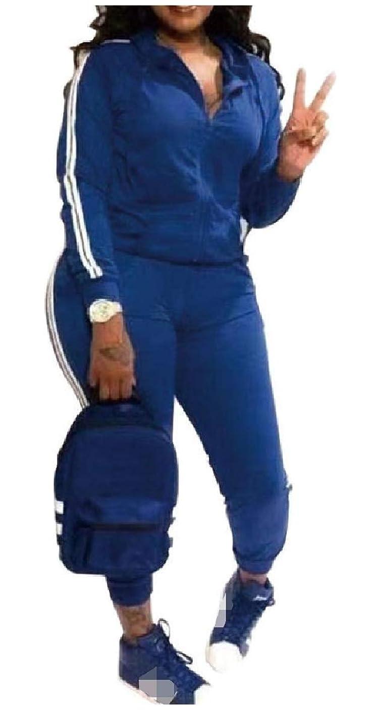 子犬芝生ペックTootess 女性ポケットフードジップ2ピースピンストライプラウンジトラックセット
