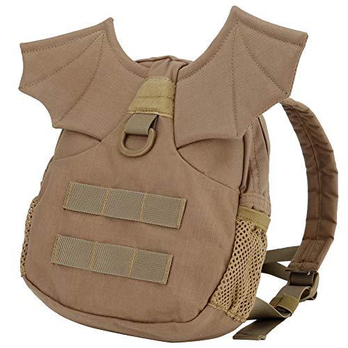 Aesy Molle Backpack Small Splash Waterproof, 1000D Nylon Military Bat Wings Backpack For Women/Kids/Girls, Children's Tactical Hiking/Camping Mini Bag (Khaki, M: 11x11.42x2.95in)