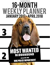 2017-2018 Weekly Planner - Most Wanted Bloodhound: Daily Diary Monthly Yearly Calendar (Dog Planners) (Volume 31)