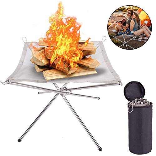 JXWL Garden Fire Pit Stainless Steel Portable Basket Patio Heater Log Wood Charcoal Burner Brazier for Camping or Patio Garden fire Party