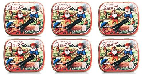 amarelli–Nanetti de regalices Alla Menta 6paquetes de 20gr, Favette de regalices Calabrese Sabor a Menta–[Kit con jabón natural quizen (Incluye]