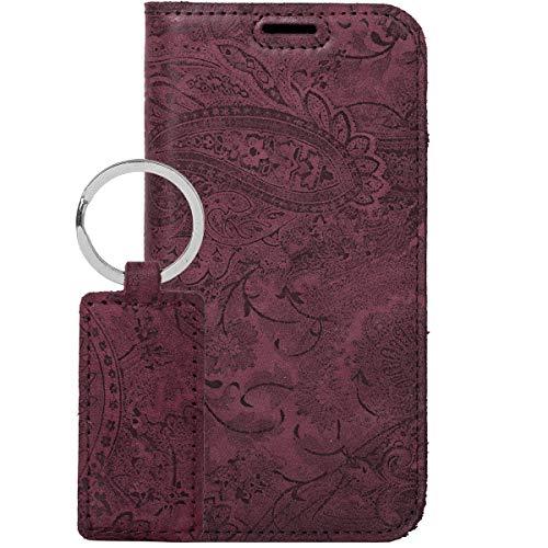 SURAZO Handy Hülle Für Apple iPhone XR RFID Smart Magnet Premium Ornament Burg& - Glattleder Premium - Vintage Wallet Hülle