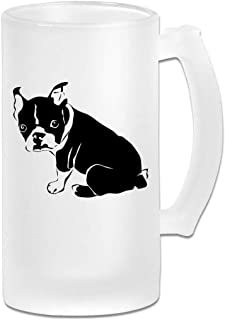 French Bulldog Beer Mugs Tumbler With Handle, 16 OZ / 500 ML Large Pub Beer Glass For Freezer