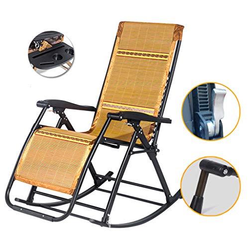 Sillón de jardín con Patio Sillón reclinable Plegable Tumbonas Mecedora Ajustable con cojín de Seda de bambú Sentado y acostado de Doble Uso para la Piscina del Patio de césped