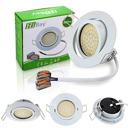 HiBay® Ultra Flach LED Einbaustrahler - Tolles Design - Warmweiss - 3,5W Leuchtmittel 230V Weiß Schwenkbar - Einbauspots - 4 Stück Einbauleuchten