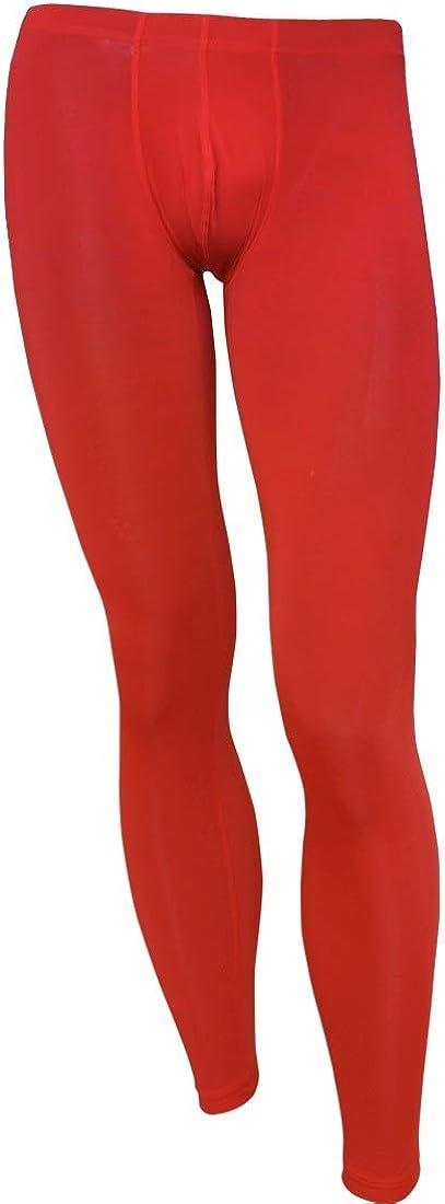 Aiihoo Men's Smooth Semi See Through Bulge Pouch Pants Low Rise Leggings Tights Thermal Underwear
