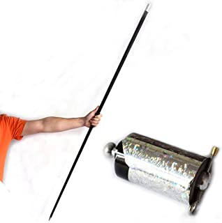 OUERMAMA 150CM Black Metal Appearing Cane with Free Gloves and Video Tutorial, Pocket Staff Magic Wand Stage Close-up Magic Trick