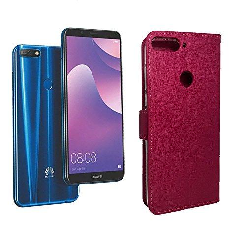 Funda Case Tipo Cartera Premier para Huawei Y7 2018 (Hot Pink)