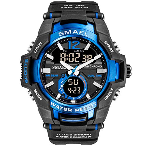 SMAELBand Männer Militäruhren Sport Digitaluhr wasserdicht 50M Armee Armbanduhr Herren,Blue