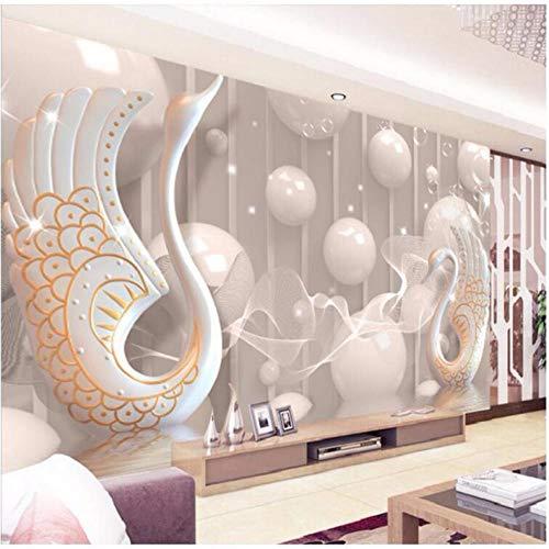 Pbbzl Fresco 3D-wandbehang, modern, decoratie voor slaapkamer, woonkamer, muur, muurschildering, wandversiering, zwanendesign 250x175cm