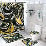 Ikfashoni 4 Pcs Marble Shower Curtain Set with Rugs, Toilet Lid Cover Bath Mat, Black and Gold Ink Texture Shower Curtain with 12 Hooks, Fabric Abstract Art Shower Curtain for Bathroom