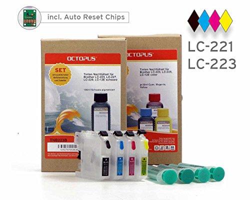 Befüllbare Druckerpatronen mit 250ml Druckertinte kompatibel für Brother LC-221, LC-223 (kein OEM) Brother DCP-J 562, MFC-J 1100, MFC-J 1140, MFC-J 1150, MFC-J 1170, MFC-J 1180, MFC-J 480
