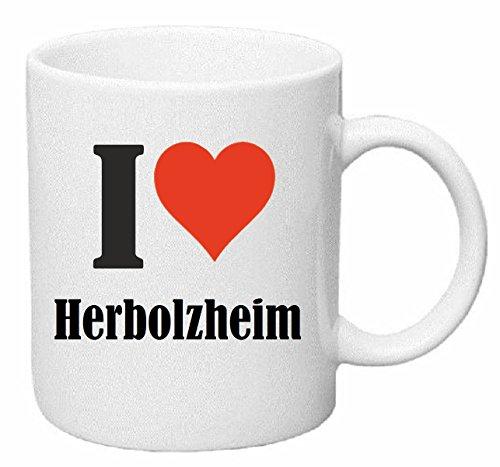 Reifen-Markt Kaffeetasse I Love Herbolzheim Keramik Höhe 9,5cm ? 8cm in Weiß