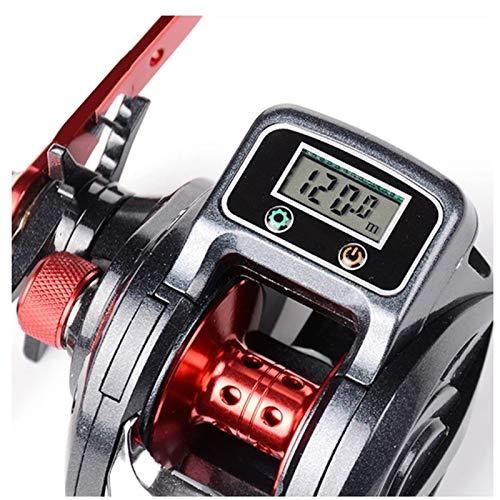 RongWang 6.3: 1 13 + 1BB Carrete De Pesca Izquierda/Derecha Perfil Bajo Contador De Línea Equipo De Aparejos De Pesca con Pantalla Digital (Color : Right Hand)