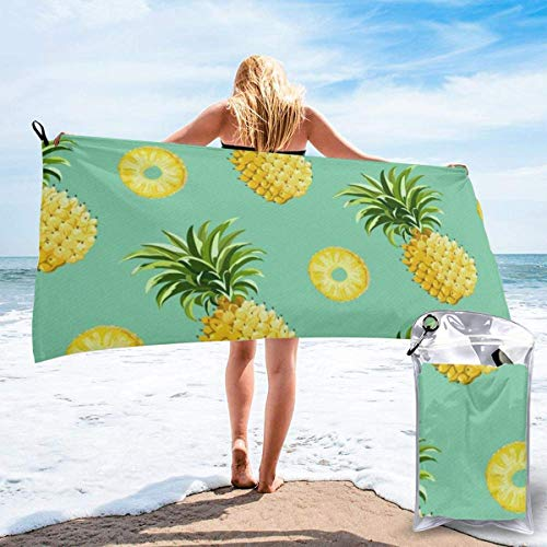 Ahdyr bath towel Hipster Pineapples Microfiber Sand Free Beach Towel Blanket-Quick Fast Dry Super Absorbent Lightweight Thin Towel
