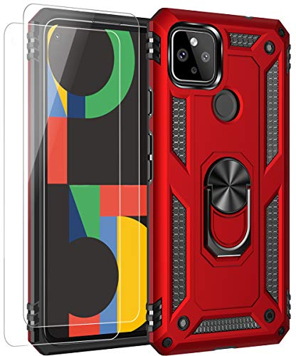 ComoUSA Google Pixel 4a 5G(2020) Case with 2 Packs HD Screen Protector. Google Pixel 4a 5G Case Kickstand [ Military Grade ] 15ft. Drop Tested Protective Cover for Google Pixel 4a 5G Phone (red)