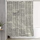 Shower Curtain Water Proof Orange England Old Continuity Newspaper Can Dirty Vintage Car Newsprint Text Aged Antique Daily Cloth Fabric Bathroom Decor Set with Hooks 72' x 78'