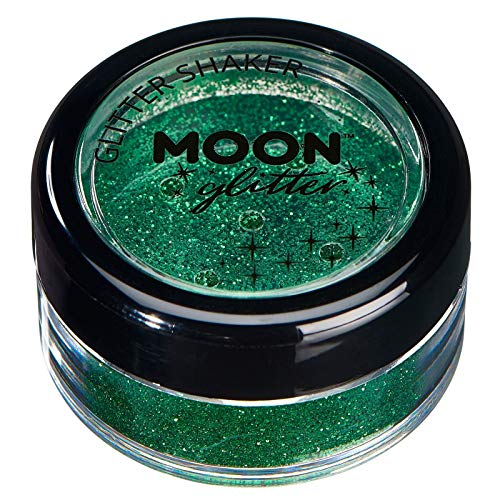 Secoueurs à paillettes fines par Moon Glitter (Paillette Lune) – 100% de paillettes cosmétique pour le visage, le corps, les ongles, les cheveux et les lèvres - 5g - Vert