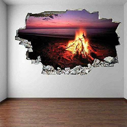 Camping Campfire Flame Lake Sunset Arte de la pared Pegatinas Mural Calcomanía Decoración para el hogar 70x110CM