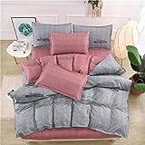 BH-JJSMGS Vierteilige Bettwäsche aus gebürsteter Baumwolle, bedruckter Bettbezug und Kissenbezug, Grau 200 * 230 cm