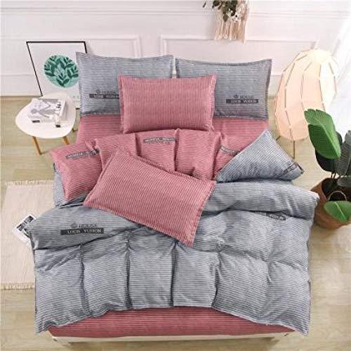 BH-JJSMGS Vierteilige Bettwäsche aus gebürsteter Baumwolle, bedruckter Bettbezug und Kissenbezug, Grau 150 * 200 cm