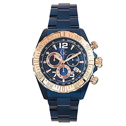Guess y02008g7Hombre Sport Racer Azul Pulsera de Acero Chrono Reloj