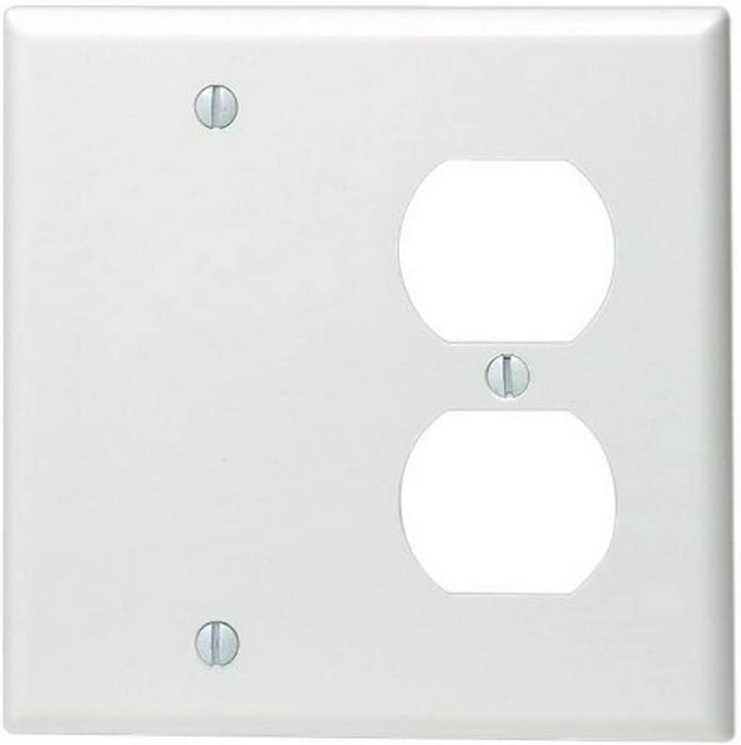 Leviton 88008 2 Gang 1 Duplex 1 Blank Device Combination Wallplate Standard Size Thermoset Box Mount White Outlet Plates