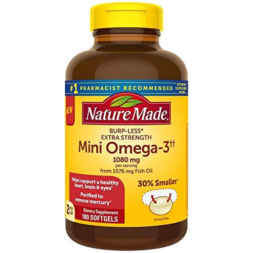 Nature Made BurpLess Extra Strength 1080mg Mini Omega 3 Fish Oil 180 ct