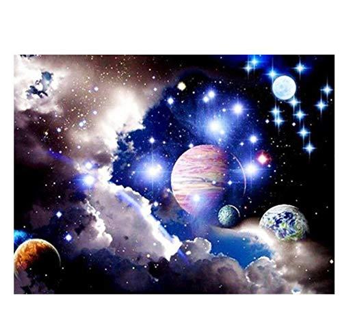qazwer Pintura De Diamantes 5D DIY Kit Punto De Cruz Planeta Tierra Cielo Estrellado Galaxia Paisaje Artesanía Mosaico Arte Decoración del Hogar Regalo 40X50 cm