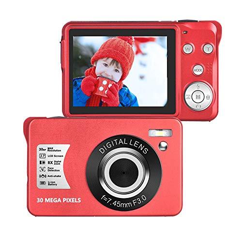 Camara de Fotos 1080P Full HD 30 Megapíxeles Cámara Digital LCD de 2,7 Pulgadas Camara Fotos con Zoom 8X Camara Fotos Compacta para Adultos Mayores Estudiantes Niños