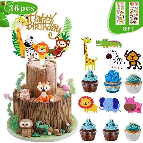 【36 Stück】Geburtstag Tortendeko Tiere,Coolba Tortendeko Kindergeburtstag Dschungel Deko für Geburtstag Kuchen Cupcake Topper Junge Mädchen Baby Party-Löwe Nilpferd Affe Elefant Zebra Giraffe Muffins