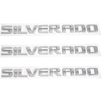 1x Silverado Emblem Door Tailgate Badge Letter Nameplate Logo Replacement for Silverado 1500HD 2500HD 3500HD Chrome