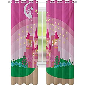 Crib Bedding And Baby Bedding Window Treatments Curtains, Magic Fantasy Fairy Tale Princess Castle With Pixie In Sky Fictional Dream Kingdom, W52 X L72 Curtains For Baby Nursery Room, Pink Green