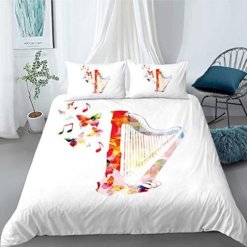 HDBUJ dekbedovertrek van polyester, kreukvrij, twee bijpassende kussenslopen, digitale 3D-print met vlinders en muziekinstrumenten, wit