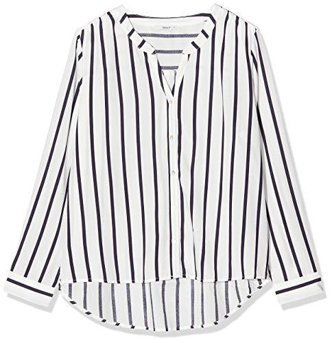 ONLY NOS Damen Bluse onlSUGAR Fallow L/S Shirt NOOS WVN, Mehrfarbig (Cloud Dancer Stripes: Night Sky), (Herstellergröße: 40)