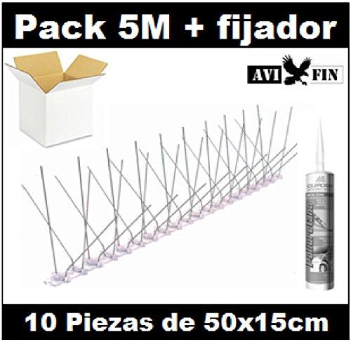 Pack 5M pinchos antipalomas AVIFIN ip140 + fijador profesional. Púa acero y...