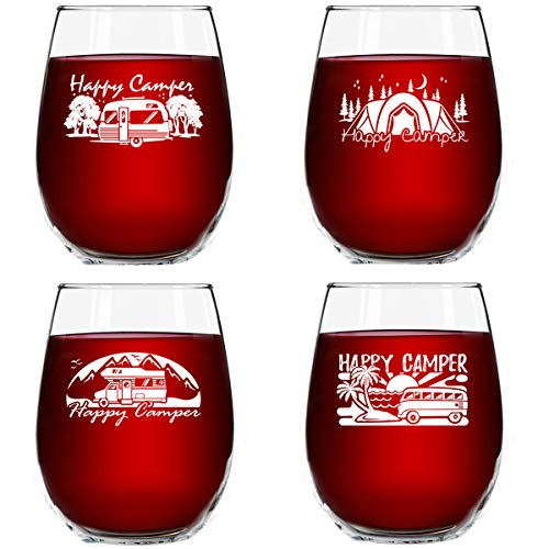 Set of 4 Happy Camper Wine Glasses 15 oz  Cute Birthday Present for Camping Lovers who Travel  Funny Humorous RV Camp Gifts for Women  Glamping Accessories  Stemless Wine Glasses Made in USA