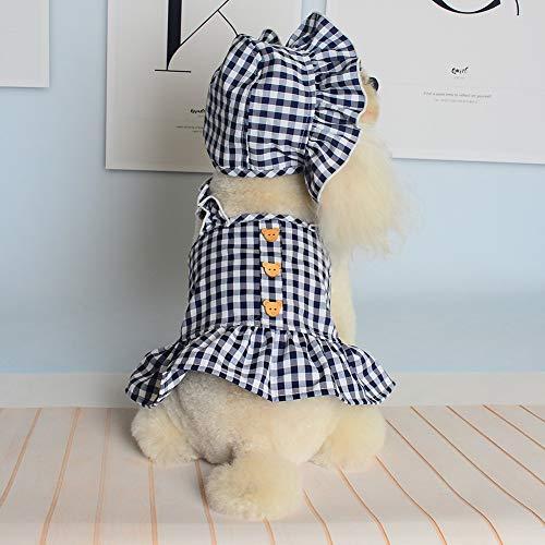 Poseca Vestido para Perros con Sombrero a Cuadros Vestido para Perros pequeños Faldas para Cachorros Ropa para Perros y niñas Vestido de Princesa para Perros Vestido de Verano para Perros