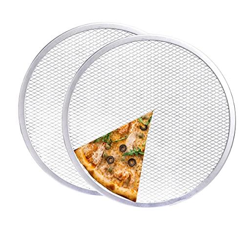 2 Pcs Aluminum Pizza Baking Screen,12 inch Pizza Screen, Seamless-Rim Aluminum Nonstick Pizza Screen