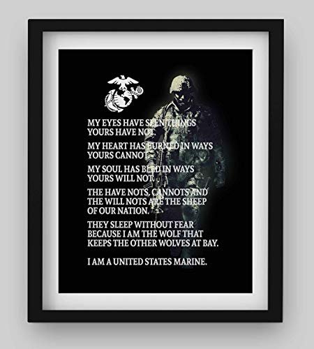 """Marine Corps Creed""- USMC Wall Art- 8 x 10"" Typographic Print-Ready To Frame. Home-Office-Military Decor. Perfect Gift for All Marines. Semper Fi - Oorah!"