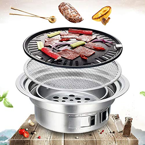 Portable BBQ Charcoal Grill 35cm Round Barbecue Grill Household Smokeless Carbon Grill Charcoal Hot Pot Barbecue Grill Pot Indoor And Outdoor Grill BBQ for Camping Picnic Beach Wild Backpacking Party