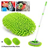 Car Wash Mop Mitt 2-in-1 Chenille Microfiber Auto Dust Brush Windshield Cleaner Tool with Extendable Handle,Not Hurt Paint Scratch Free Car Cleaning Tool with 2 Reusable Microfiber Mop Head (Green)