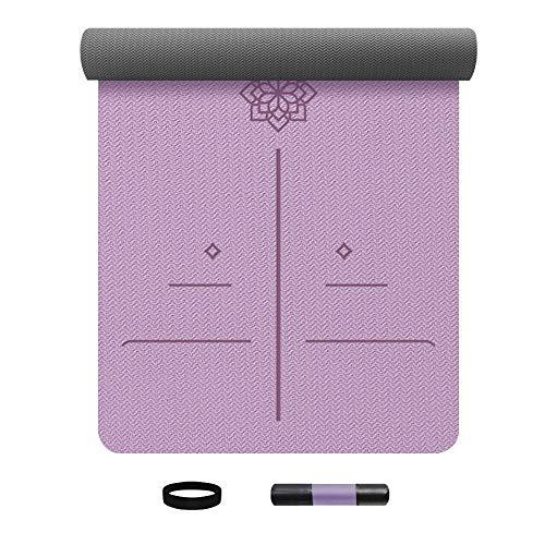 Deporte Extra Grueso Yoga Gimnasio Esteras De Piso con Correas Antideslizantes Grueso Goma Home Fitness Mats Mats Alfombra Yoga (Color : Purple)
