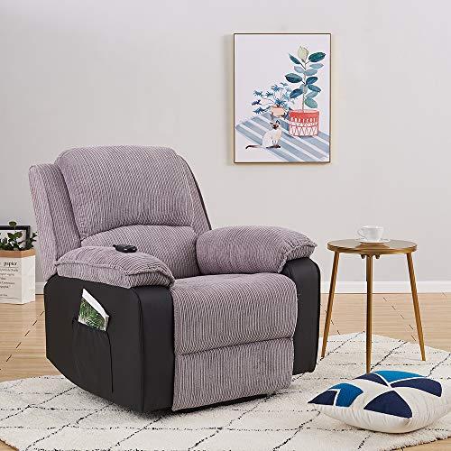 Panana Fauteuil Electrique en Tissu Inclinable, Relaxation de Salon, 97 cm (L) x 89 cm (l) x 97 cm (H) (Gris)