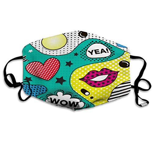 Na Mundschutz Unisex für Kinder Teenager Männer Frauen Hintergrund im Pop-Art-Stil trendigen Comic Half Face Shield