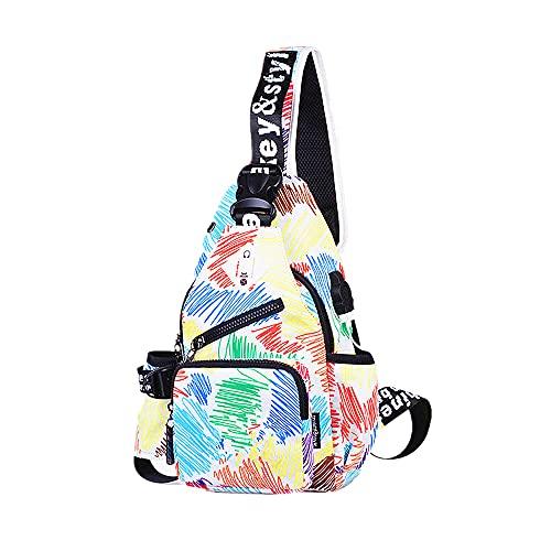FIRECLUB 13 Inch Multifunction Women Men Messenger Bag Teenager Shoulder Oxford Chest Packs Crossbody Casual USB Charging (Line Printing)