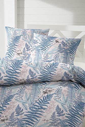 Hahn fijn flanellen winter beddengoed 155x220 Farn bladeren vogels blauw groen 173067-37
