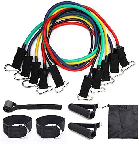 Widerstand-Bänder Set Übungsbänder Für Krafttraining, Physiotherapie, Heim Workouts Mit 5 Fitness-Tubes, 2 Schaumgriffe, 2 Ankle Straps, Tür-Anker