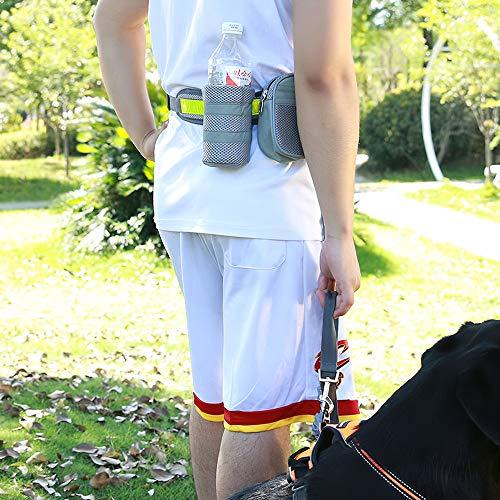 Handvrije hondenriem voor lopen, wandelen, met reflecterende riem, riemdispenser, tas, medium tasje